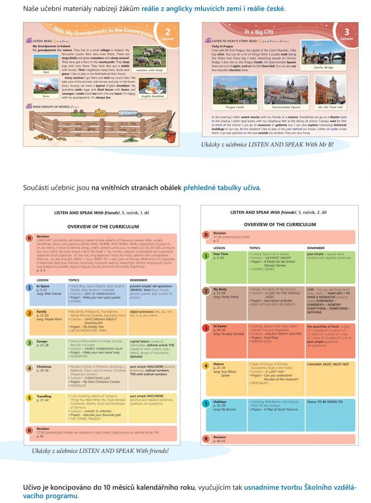 učebnice obsahují informace o anglických i českých reáliích nebo přehledné tabulky učiva