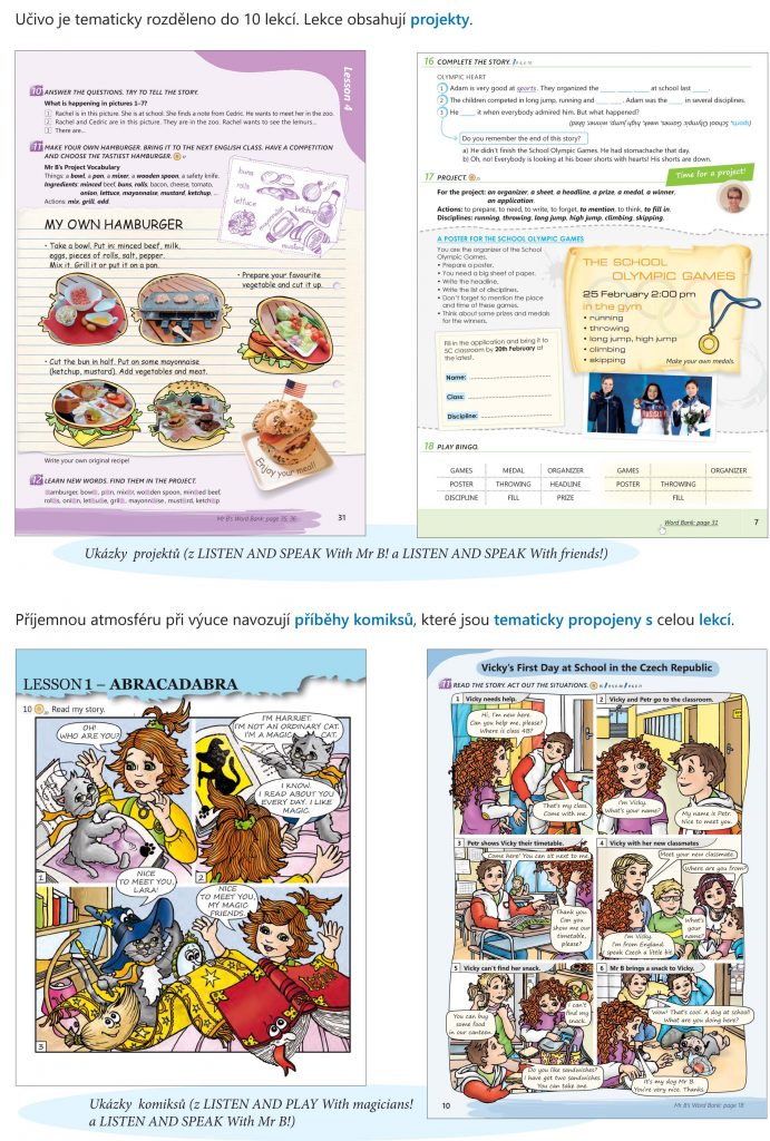 učivo (řady LISTEN AND PLAY a LISTEN AND SPEAK) obsahuje projekty. komiksy a je rozděleno do 10 lekcí